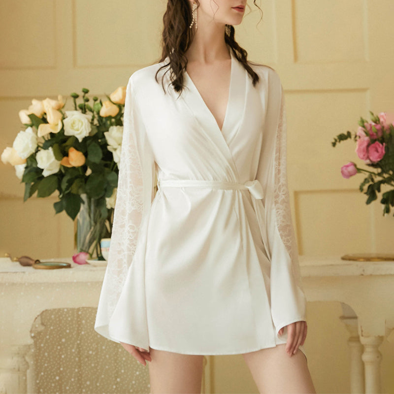 Lace Stitching Pure Color V-neck Nightgown With Belt