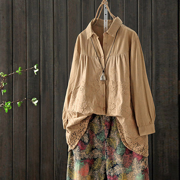 Lace Cotton Female Spring Loose Shirt