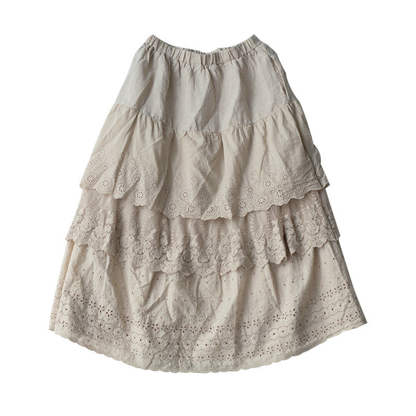 Lace Cotton Solid Vintage A-Line Skirt