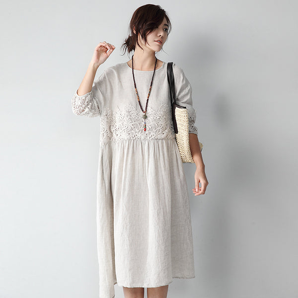 Lace Floral Hollow Out Sleeve Linen Dress