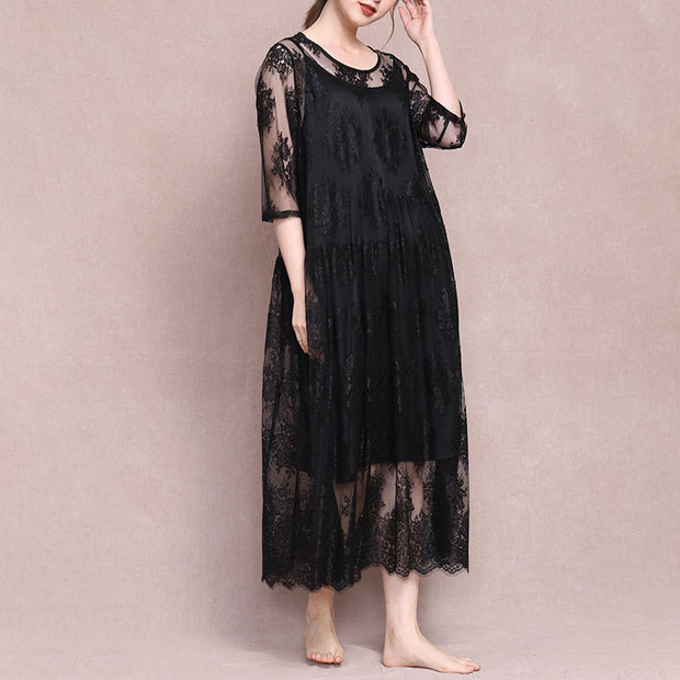 Lace Loose Spliced Irregular A-Line Dress
