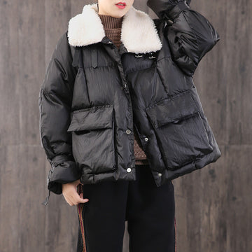 Lace Up Cuffs Casual Short Down Coat
