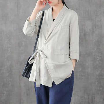 Lace Up Solid Color Linen Suit Jacket