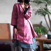 Lace Up Solid Color Retro Loose Shirt