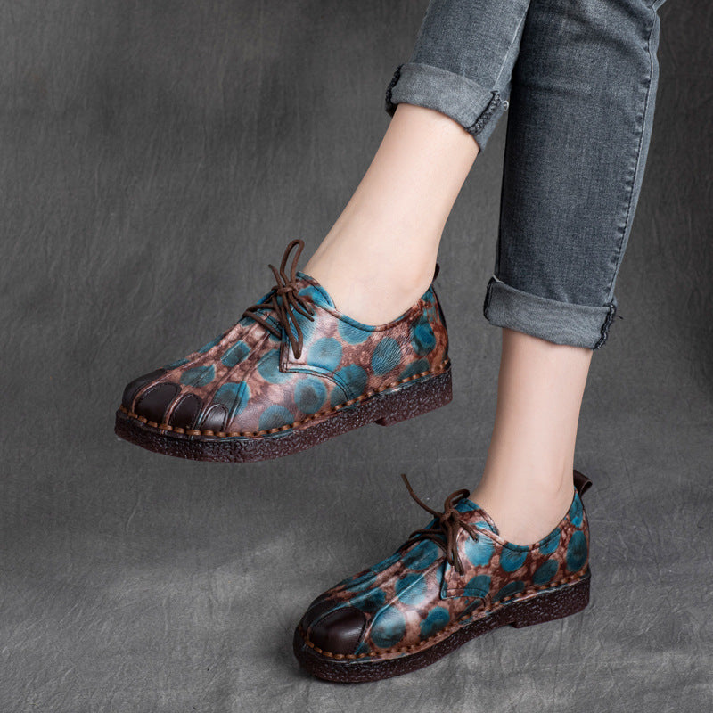 Lacing Leather Color Contrast Flat Shoes