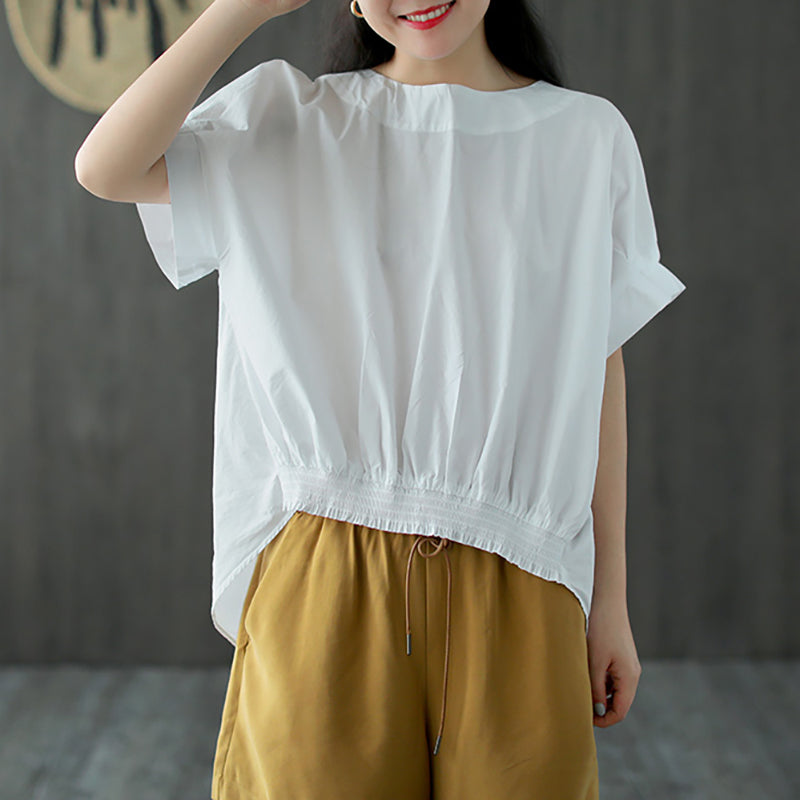 Lacing Women Short Sleeve Summer Loose T-shirt