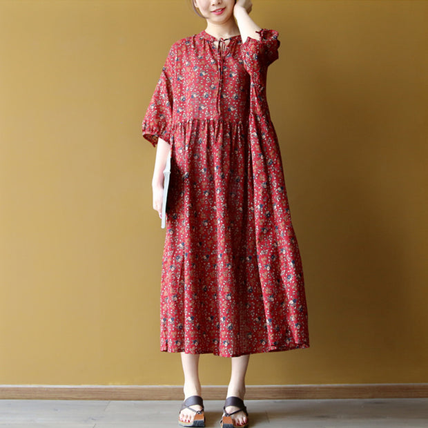 Lacing Casual Floral Women Pleated Dress