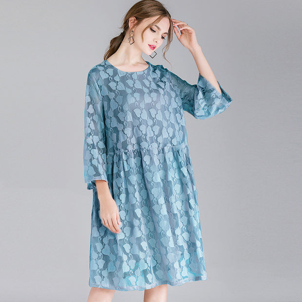 Lacing Hollow Out Lace Casual Loose Dress