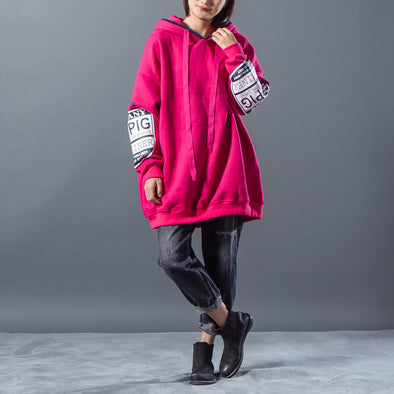 Lacing Hoody Loose Rose Red Sweatshirt