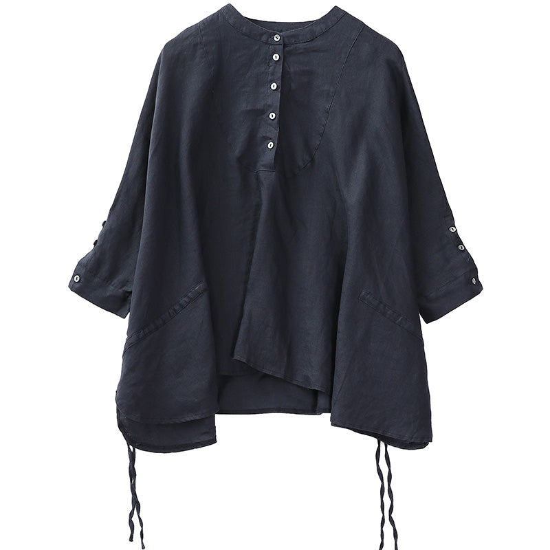 Plus Size - Lacing Loose Batwing Sleeve Blouse