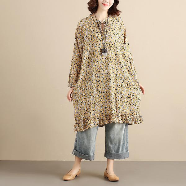 Lacing Yellow Floral V Neck Casual Dress