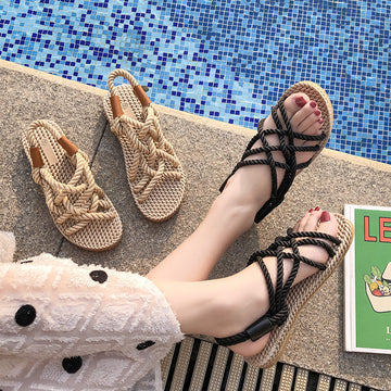 Ladies Summer Rope Open-Toe Casual Beach Sandals
