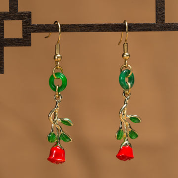 Lady Vintage Red Rose Earrings