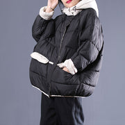 Lady Winter Black Loose Short Cotton Pad Coat
