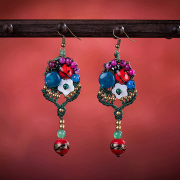 Ladybug Flower Bell Retro Weave Earrings