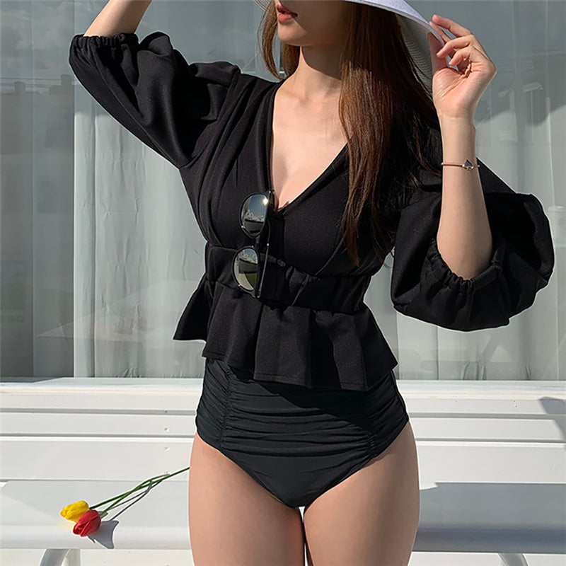 Lantern Sleeve Pure Color Two Piece Swimwear