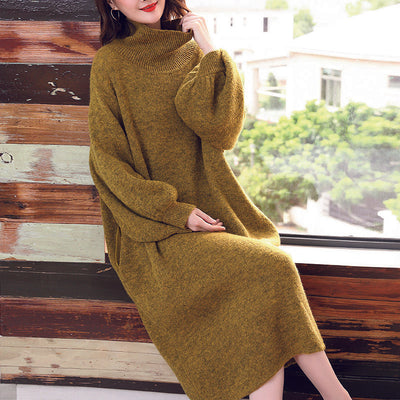 Lantern Sleeve Turtleneck Solid Winter Dress