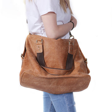Large Capacity Leather Solid Color Handbag