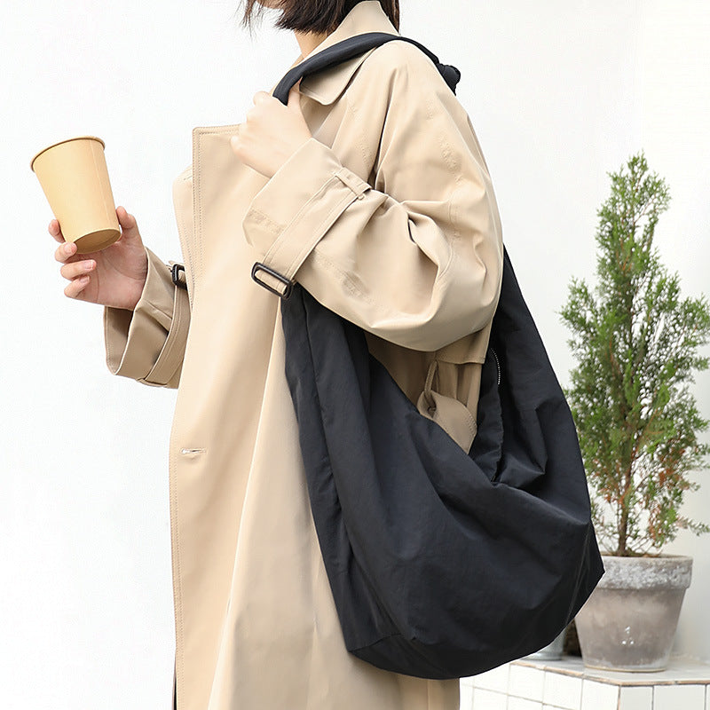 Large Capacity Solid Color Shoulder Bag