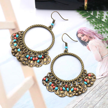 Large Circle Pendant Tassel Earrings