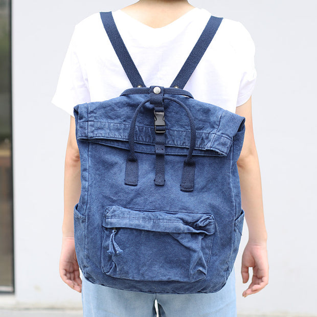 Large Capacity Solid Color Retro Canvas Backpack