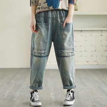 Large Square Pockets Distressed Jeans