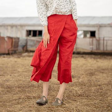 Buykud Pure Color Linen Plus Size Pants