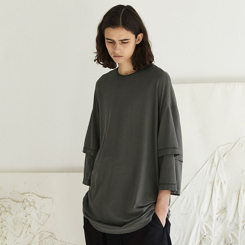 Plus Size - Layered Sleeve Pure Color Casual T-shirt
