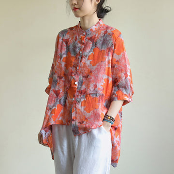 Leaf Print Half Sleeve Stand Collar Irregular Shirt