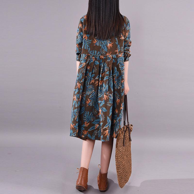 Leaf Printed Casual Spring Loose Dress