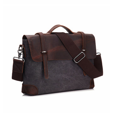 Leather Canvas Shoulder Bag For Women