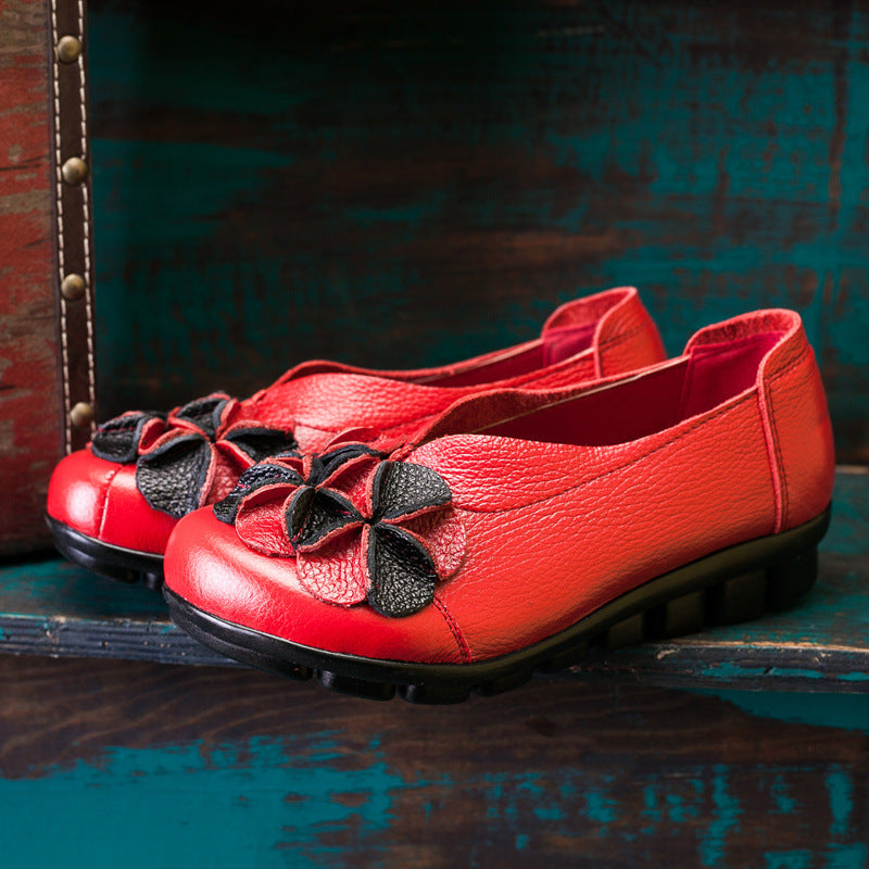 Leather Flower Decoration Casual Loafers For Women