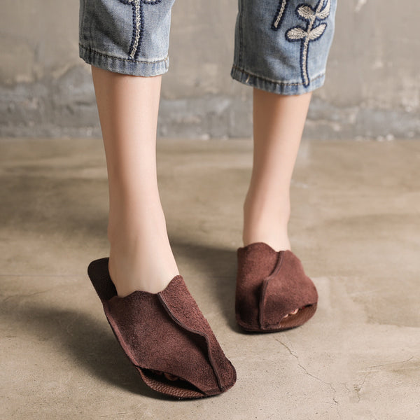 Leather Casual Flat Round Toe Slippers