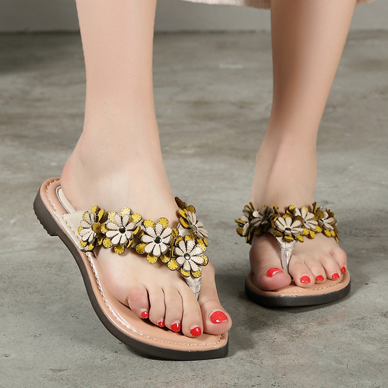 7a5170110 Leather Floral Women Bling Flat Sandals