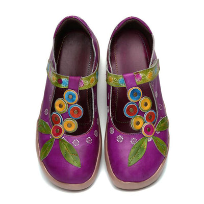 Leather Print Vintage Round Toe Flat Shoes