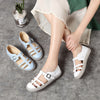 Leather Round Toe Flat Sewing Shallow Sandals