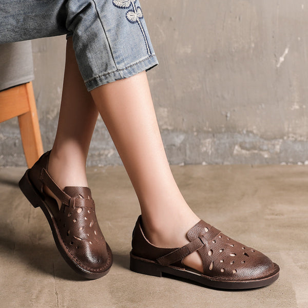 Leather Soft Bottom Hollow Breathable Shoes