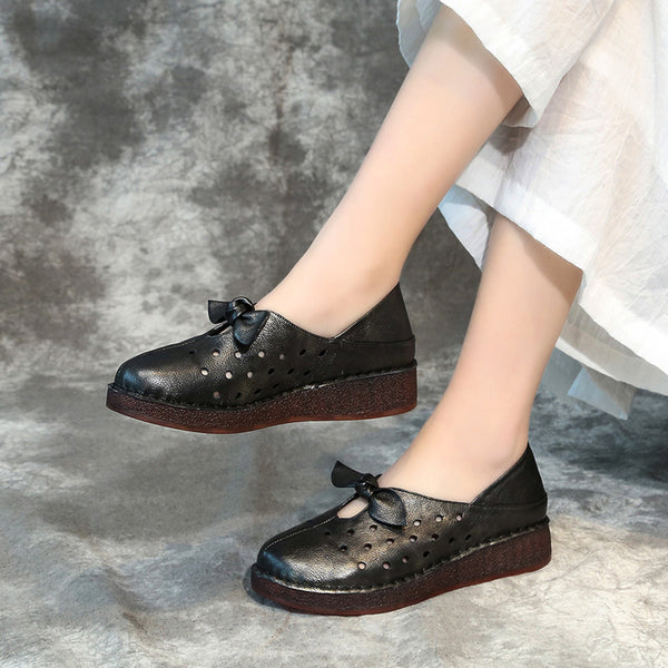 Leather Soft Casual Hollow Out Women Shoes