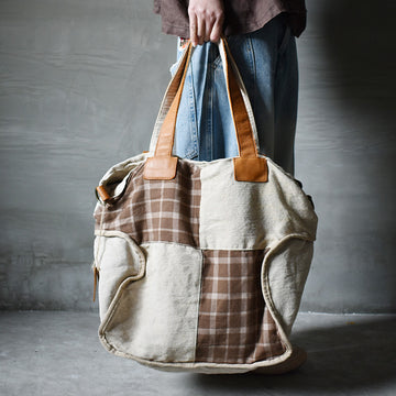 Leather Splicing Plaid Tote Bag
