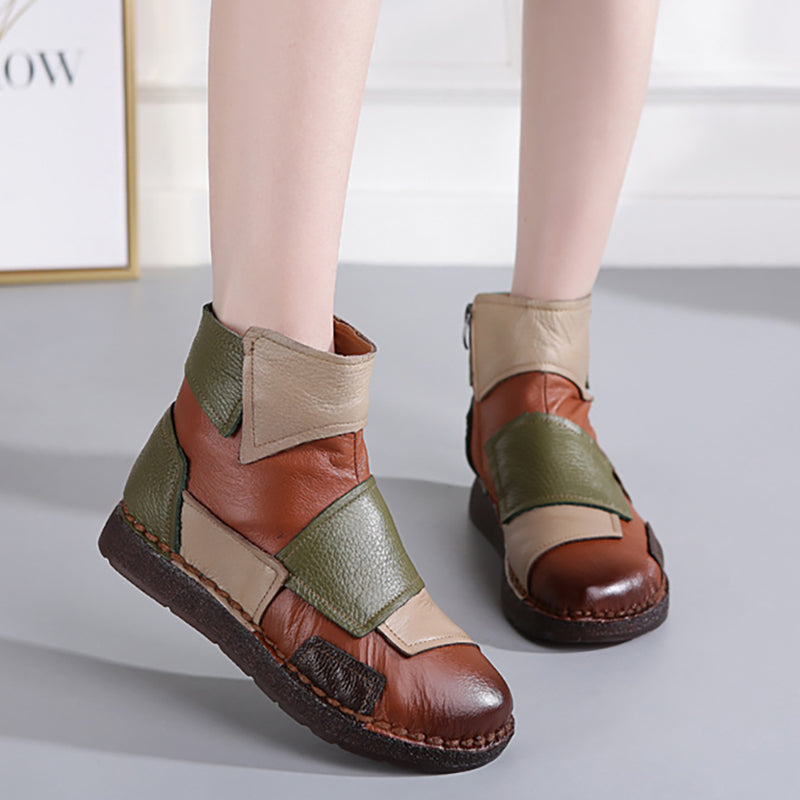 Leather Stitching Soft Bottom Casual Boots