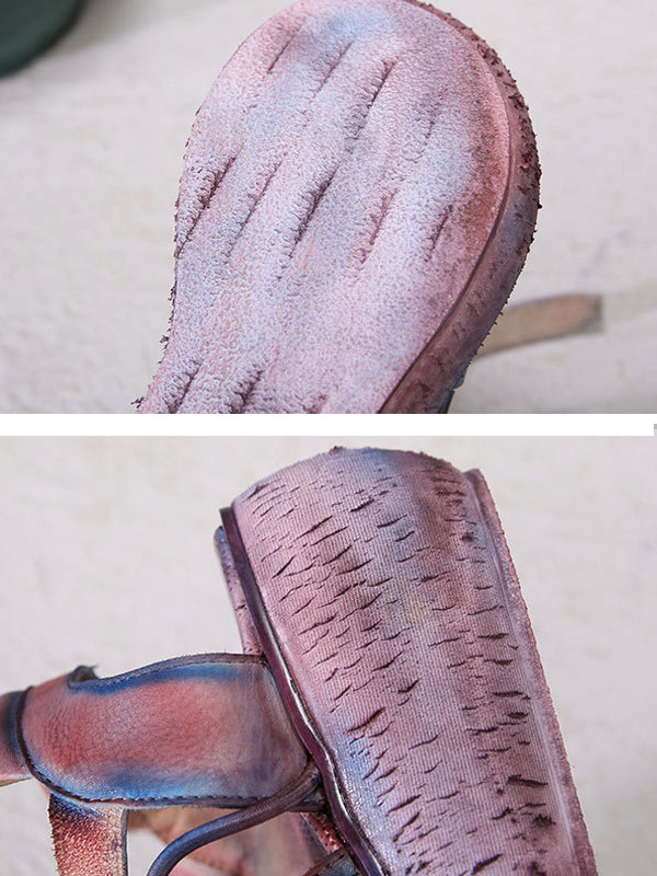 Leather Vintage Hand Made Wedges Sandals