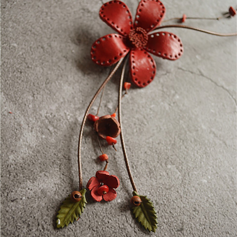 Leather Vintage Indie Folk Floral Alloy Necklace