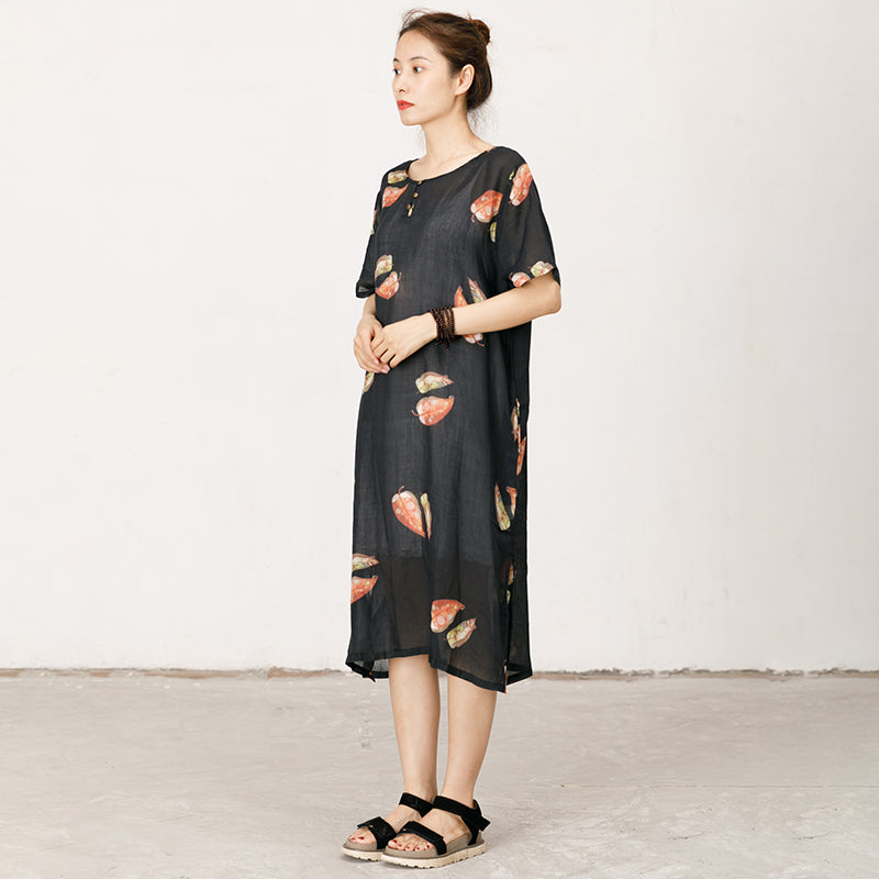 Leaves Printed Soft Split Hem Dress