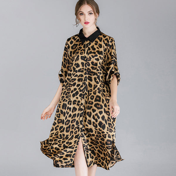 Leopard Chiffon Print Plus Size Dress