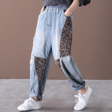 Leopard Splicing Hole Spring Jeans