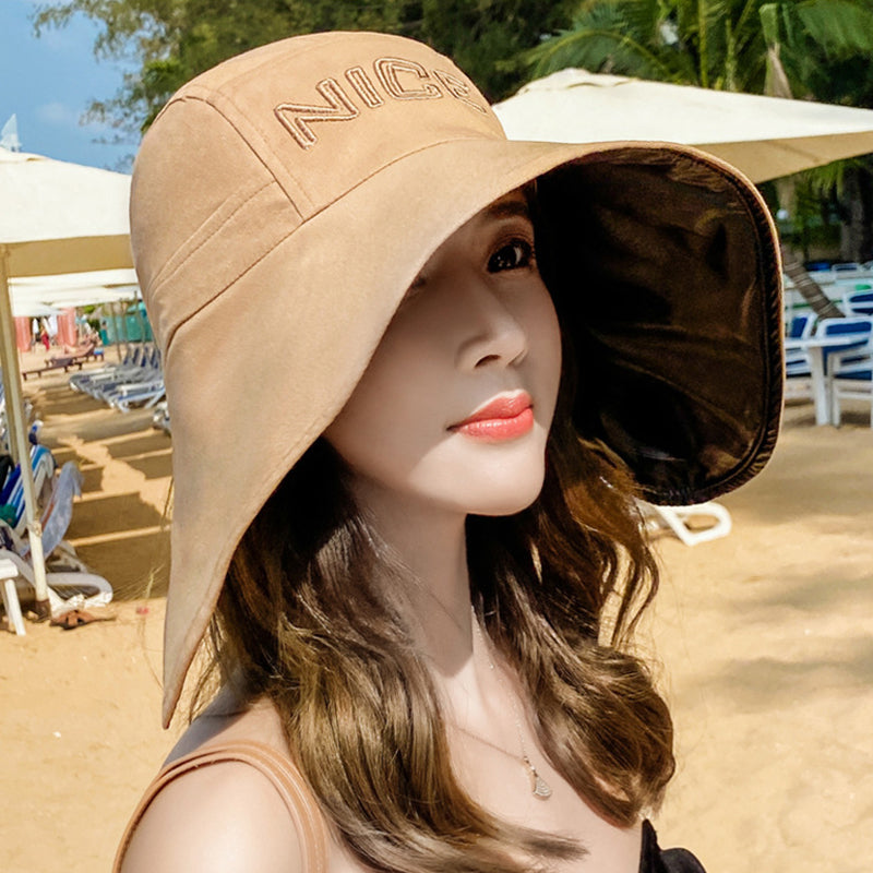 Letter Embroidery Sun Protection Split Hat