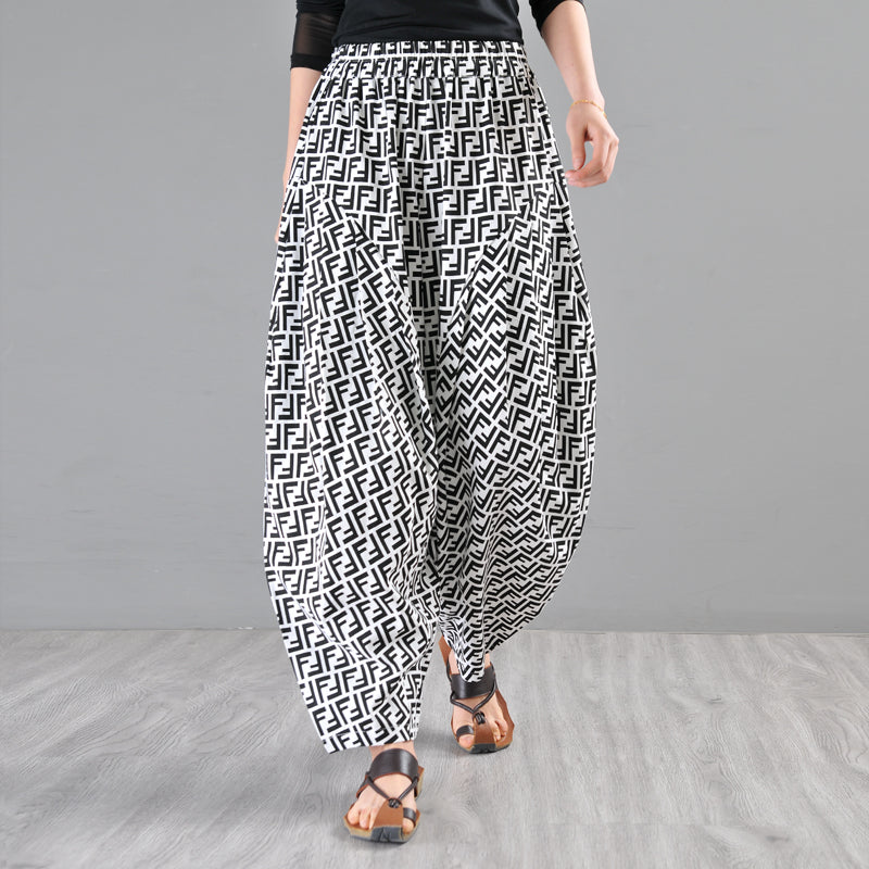 Women Letter Printed Loose Harem Pants