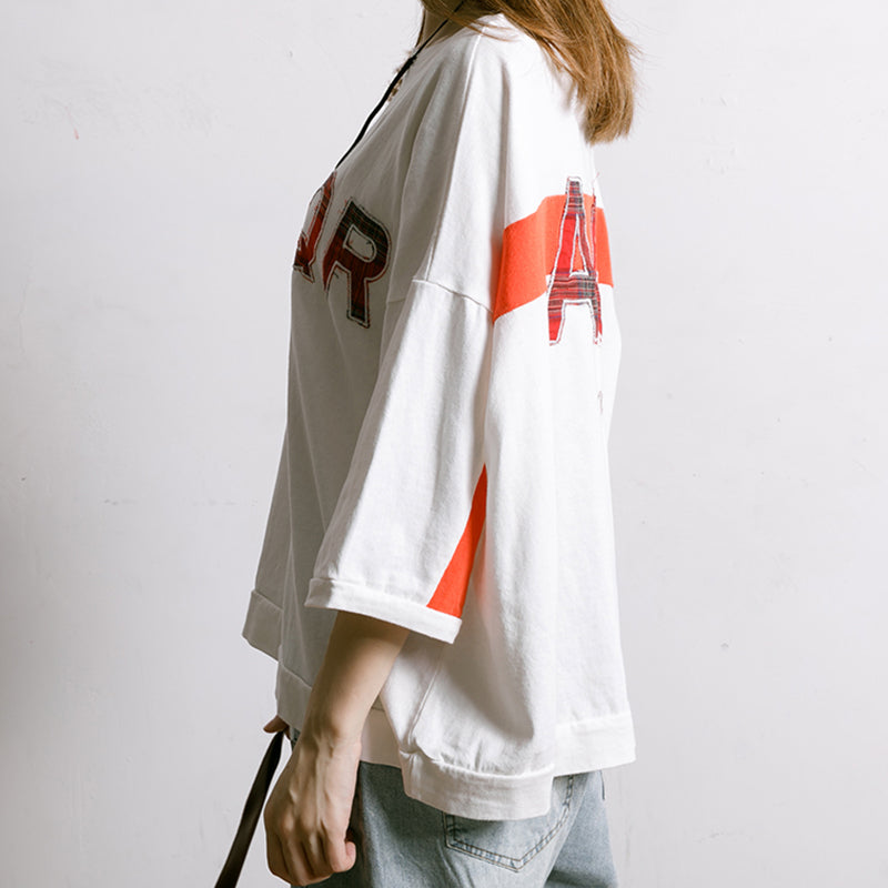 Letter Embroidery And Appliques Casual T-Shirt