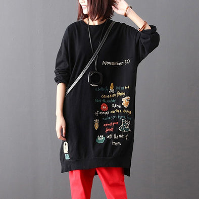 Letter Embroidery Casual Black Long Sweatshirt