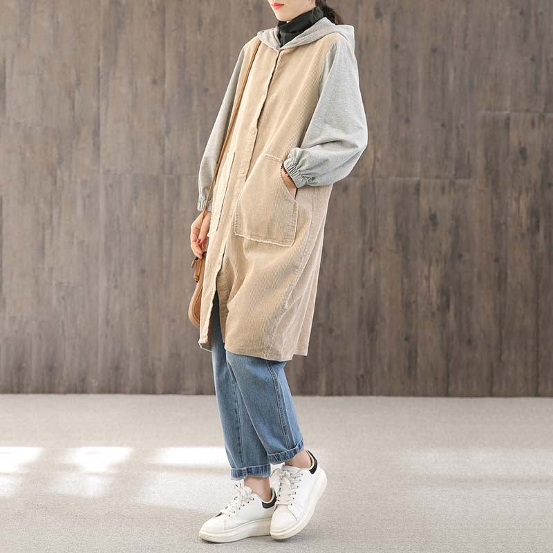 Letter Embroidery Contrast Color Casual Coat